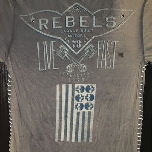 Affliction Tops - Affliction Grey wash Rebels skull shirt size M